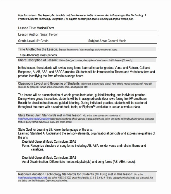Music Lesson Plan Template Unique Sample Music Lesson Plan 7 Documents In Pdf Psd