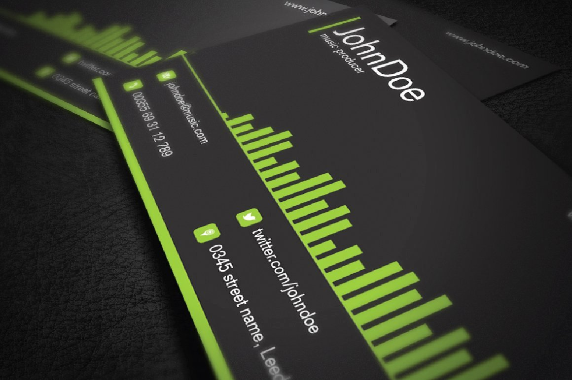 Musician Business Card Examples Inspirational Music Business Card Business Card Templates Creative Market