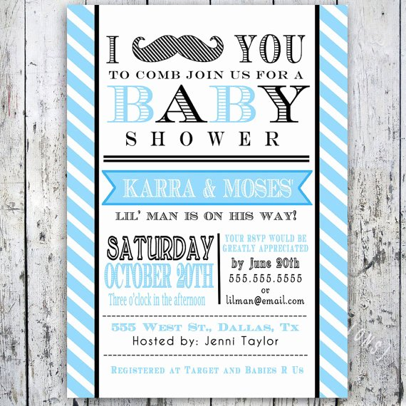 Mustache Baby Shower Invitations Templates Awesome Little Man Mustache Baby Shower Invitation Digital Printable Custom Invites