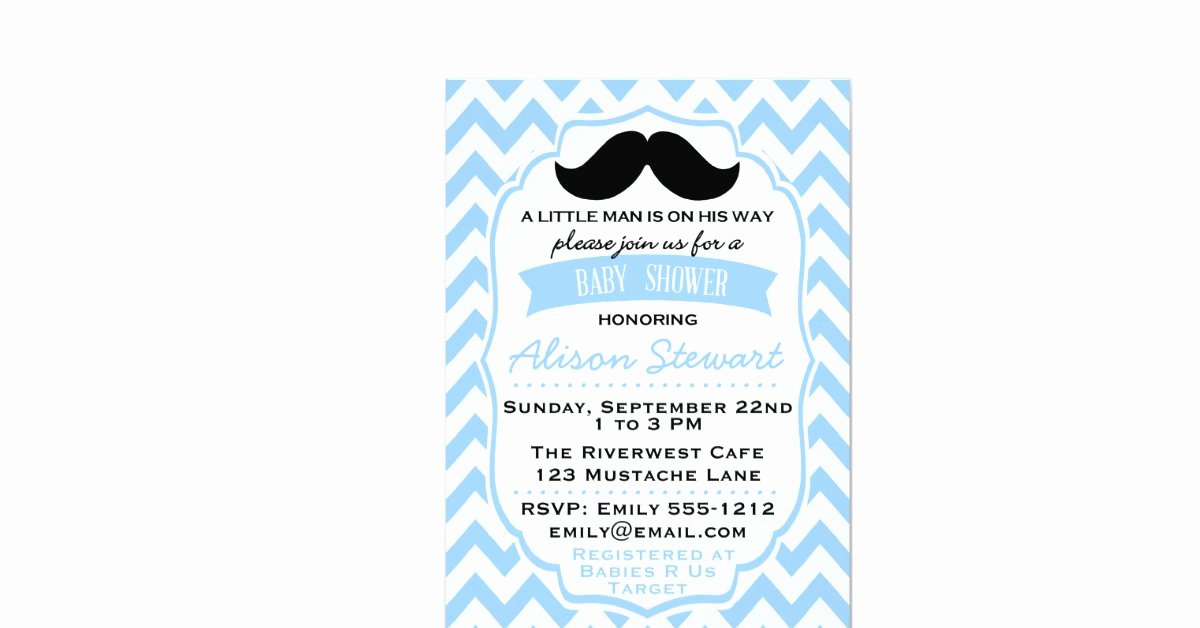 "Mustache Baby Shower Invitations Templates Elegant Little Man Mustache Chevron Baby Shower Invitation 5"" X 7"" Invitation Card"