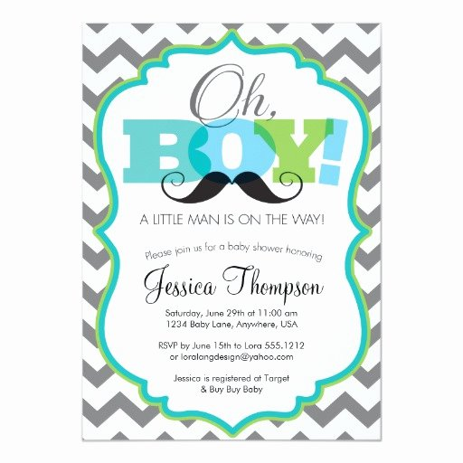 Mustache Baby Shower Invitations Templates Elegant Oh Boy Mustache Baby Shower Invitation