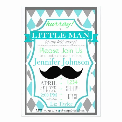 Mustache Baby Shower Invitations Templates Lovely Little Man Mustache Baby Shower Invitations