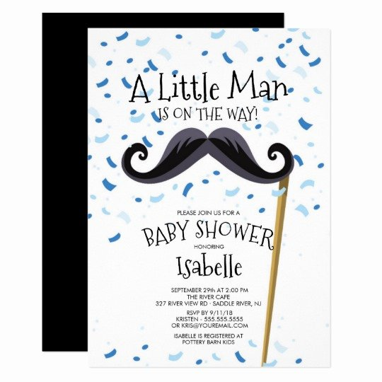 Mustache Baby Shower Invitations Templates Lovely Modern Little Man Mustache Baby Shower Invitation