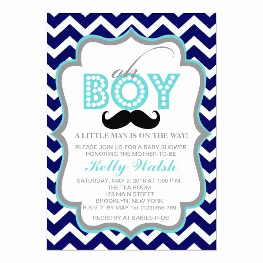 Mustache Baby Shower Invitations Templates Lovely Oh Boy Chevron Mustache Baby Shower Invitation