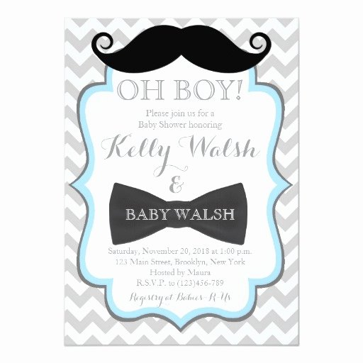 Mustache Baby Shower Invitations Templates Lovely Oh Boy Mustache Baby Shower Invitations Chevron