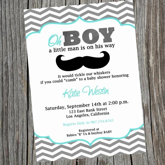 Mustache Baby Shower Invitations Templates New Little Man Printable Party Invitation Mustache Invitation
