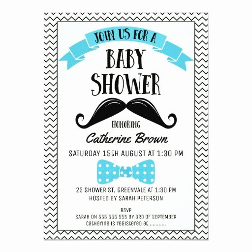 Mustache Baby Shower Invitations Templates Unique Little Man Chevron Mustache Baby Shower Invitation