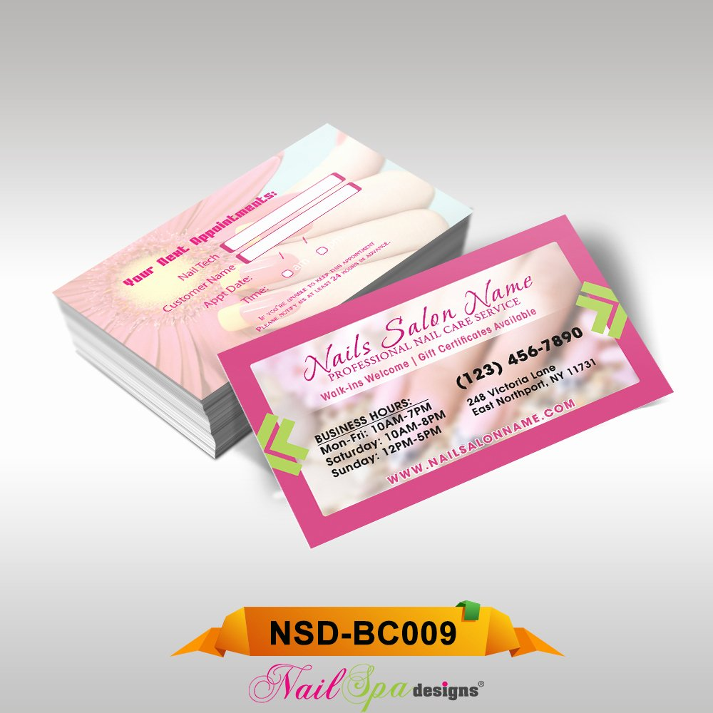 Nail Salon Business Card Awesome Nail Spa Business Card Bc009 911prints 24hr Printing & Marketing Services