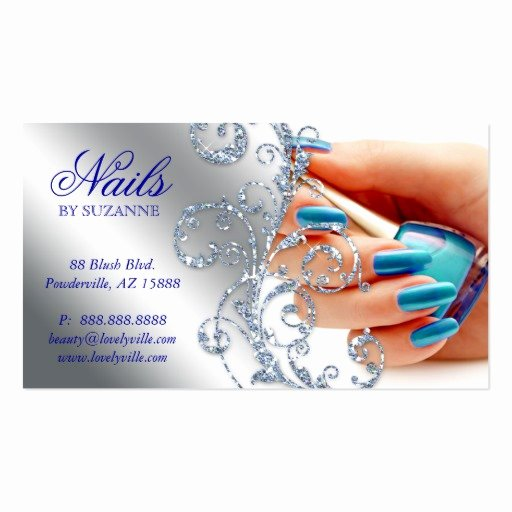 Nail Salon Business Card Inspirational Nail Salon Business Card Glitter Blue Silver