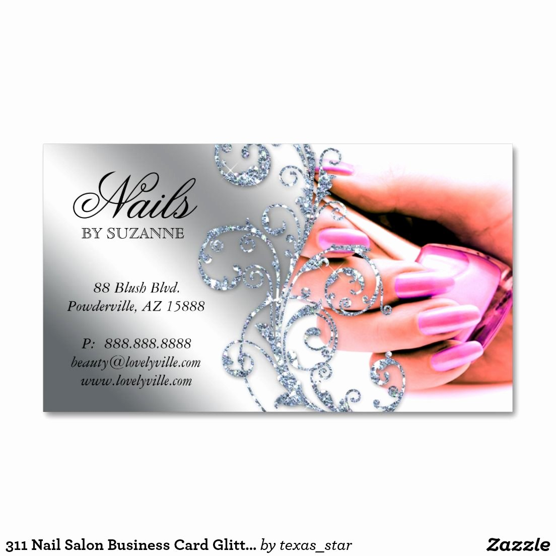 Nail Salon Business Cards Inspirational 311 Nail Salon Business Card Glitter Pink Silver Zazzle In 2019 Business Cards