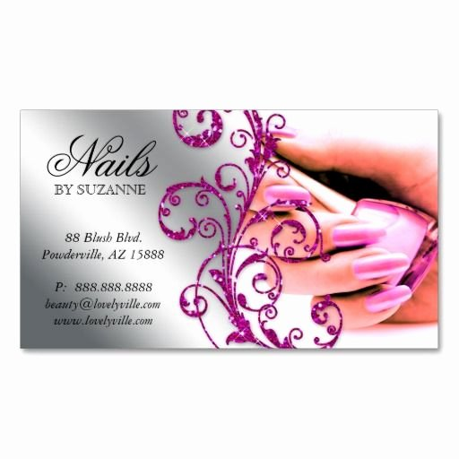 Nail Salon Business Cards Unique Nail Salon Business Card Glitter Pink Silver 2 Zazzle Christmas Wish List