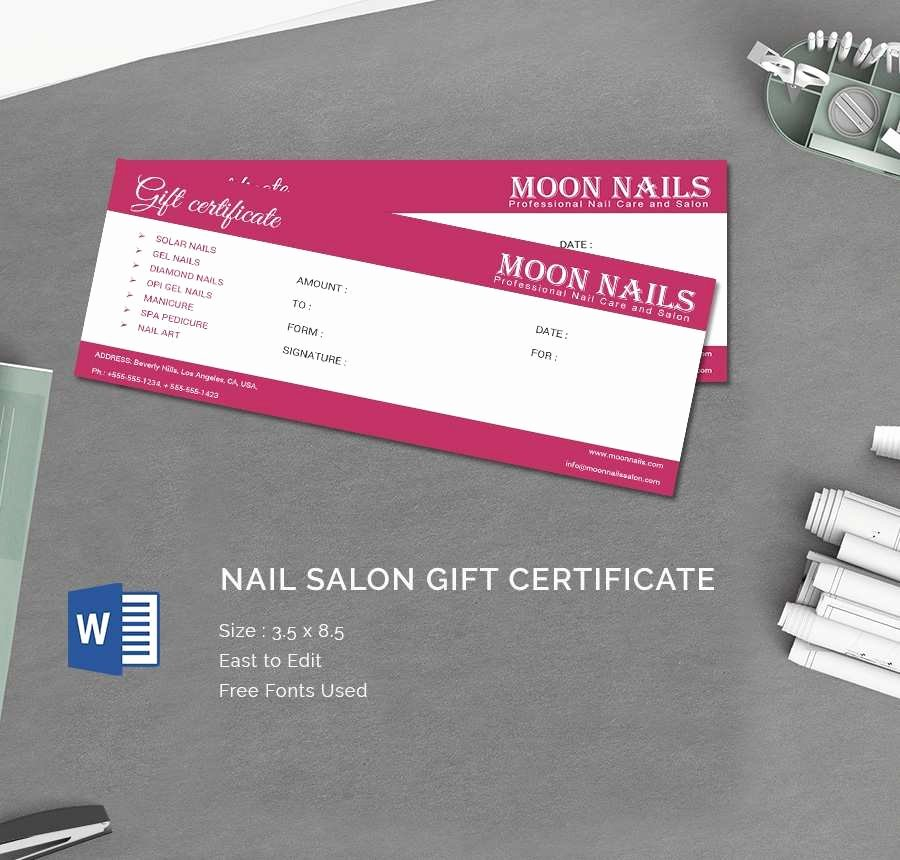 Nail Salon Gift Certificate Template Luxury Nail Salon Gift Certificate Good 15 Certificate Templates