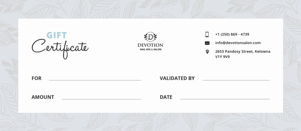 Nail Salon Gift Certificate Template New Gift Certificates