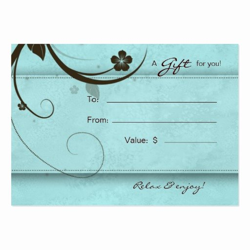 Nail Salon Gift Certificate Template New Salon Gift Card Spa Flower Watery Blue Business Cards