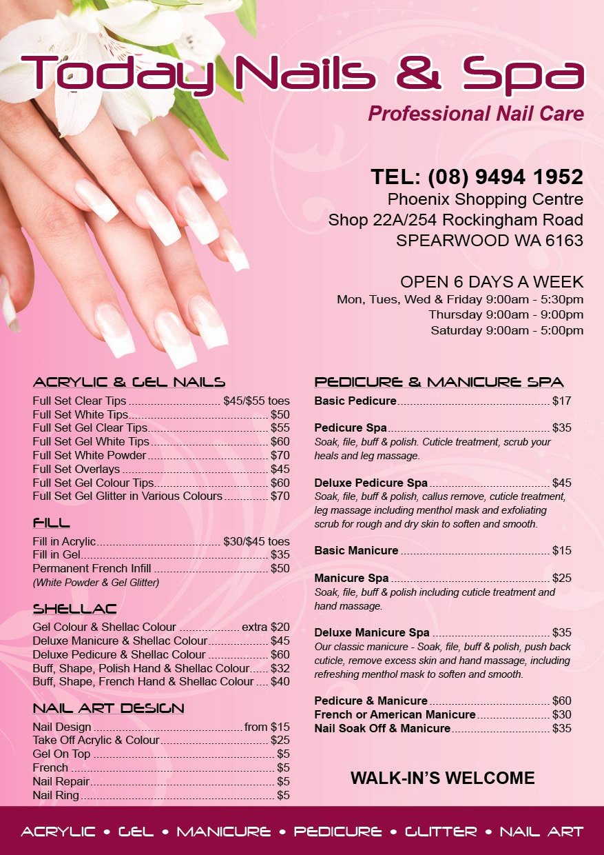 Nail Salon Price List Template Awesome Graphic Design Services Price List