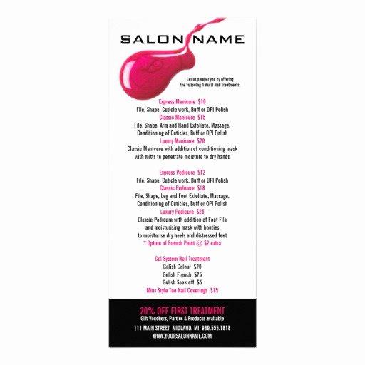 Nail Salon Price List Template Awesome Nail Salon Price List Rack Cards