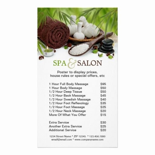 Nail Salon Price List Template Awesome sold Spa Massage Salon Price List Poster Template Stuff sold On Zazzle
