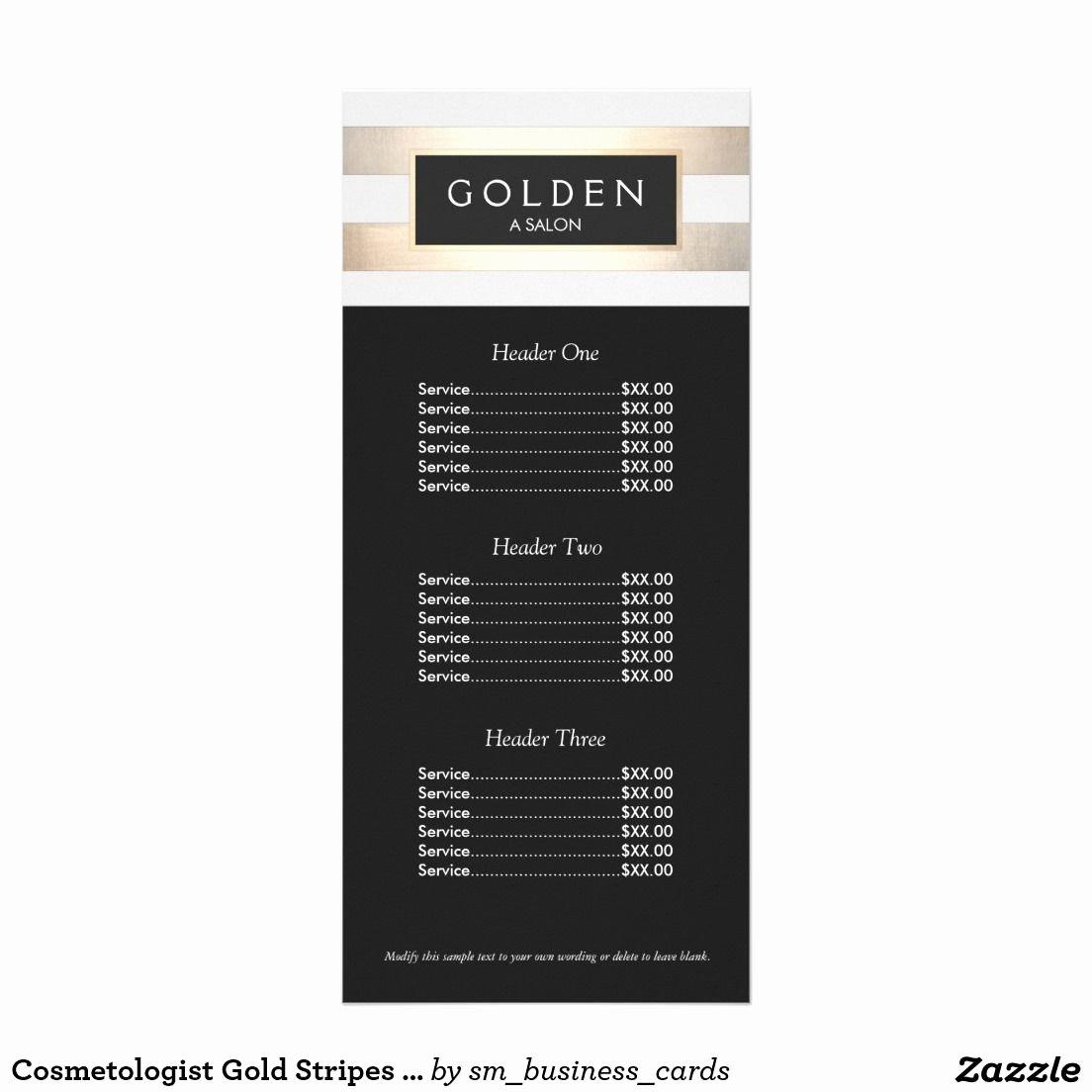 Nail Salon Price List Template Fresh Cosmetologist Gold Stripes Hair Salon A Price Menu Zazzle