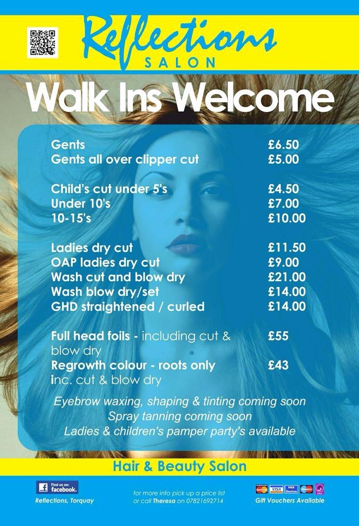 Nail Salon Price List Template Fresh Hair Price List My Future Salon Pinterest
