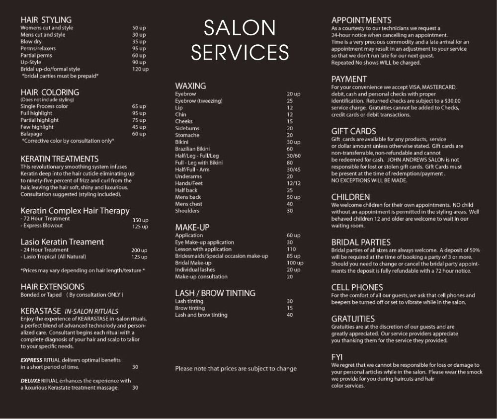 Nail Salon Price List Template Fresh John andrews Salon Services …
