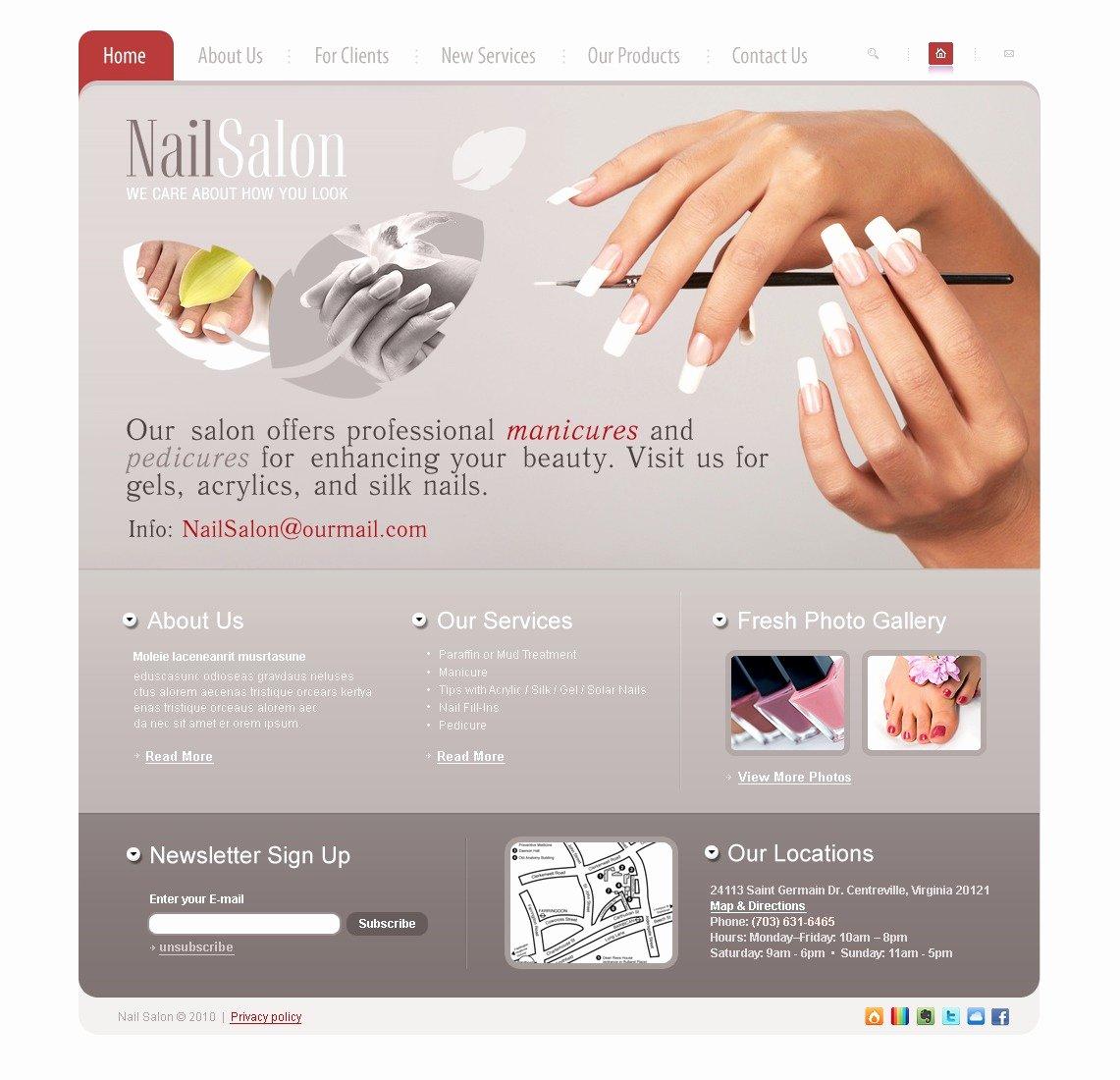 Nail Salon Price List Template Inspirational Nail Salon Website Template
