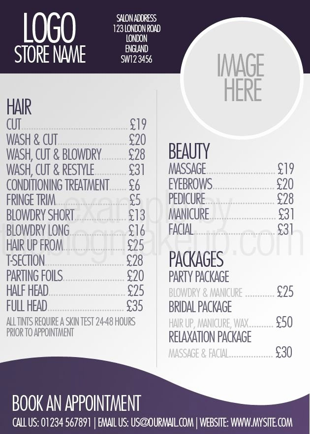 Nail Salon Price List Template Lovely Beautifully Designed Menus and Price Lists for Salons Salon Business Ideas
