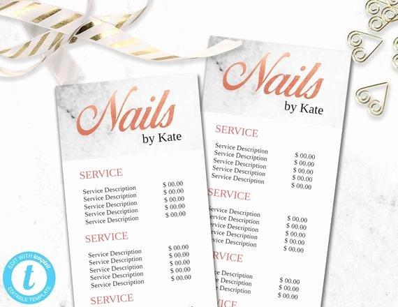 Nail Salon Price List Template Luxury Nail Technician Salon Menu Template Nail Bar Price List