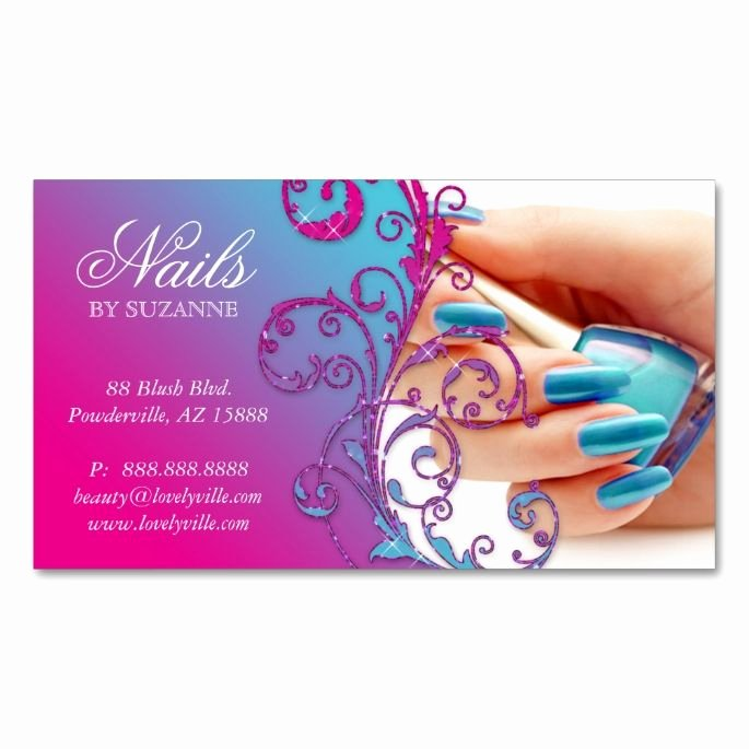 Nail Tech Business Cards Elegant Nail Salon Business Card Glitter Blue Pink