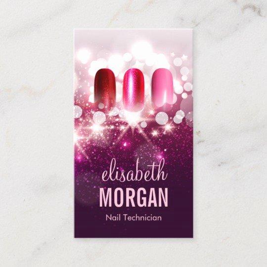 Nail Tech Business Cards New Nail Technician Manicurist Pink Beauty Glitter Business Card