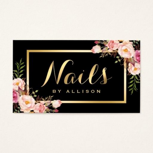 Nail Tech Business Cards Unique Nail Technician Salon Black Gold Floral Script Business Card Zazzle Business Card