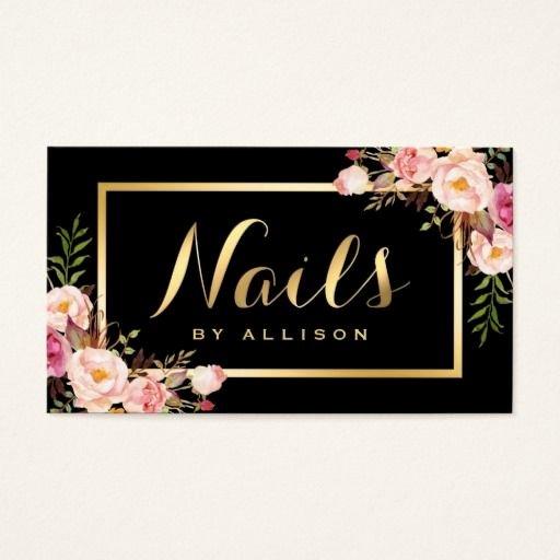 Nails Business Cards Design Best Of Nail Technician Salon Black Gold Floral Script Business Card Zazzle Business Card