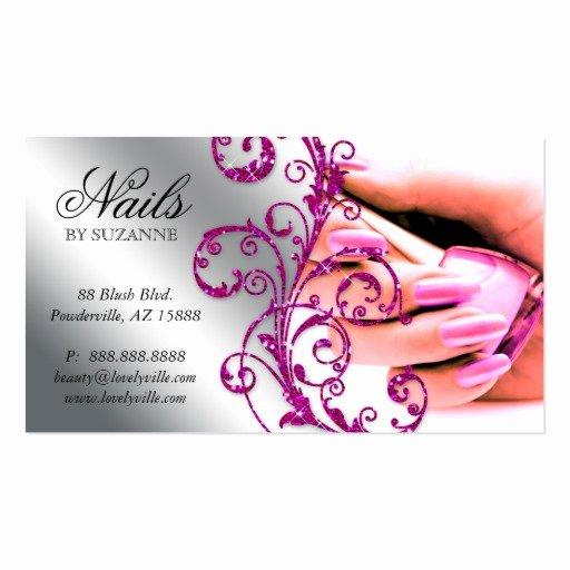 Nails Business Cards Design Fresh Nail Salon Business Card Glitter Pink Silver 2