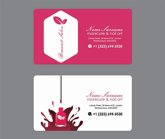 Nails Business Cards Design New Manicure Nail Art Business Card Brannet Market