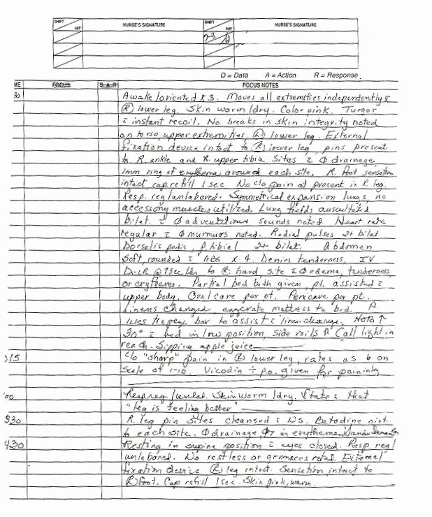 Narrative Nursing Notes Examples Unique Nursing Narrative Example