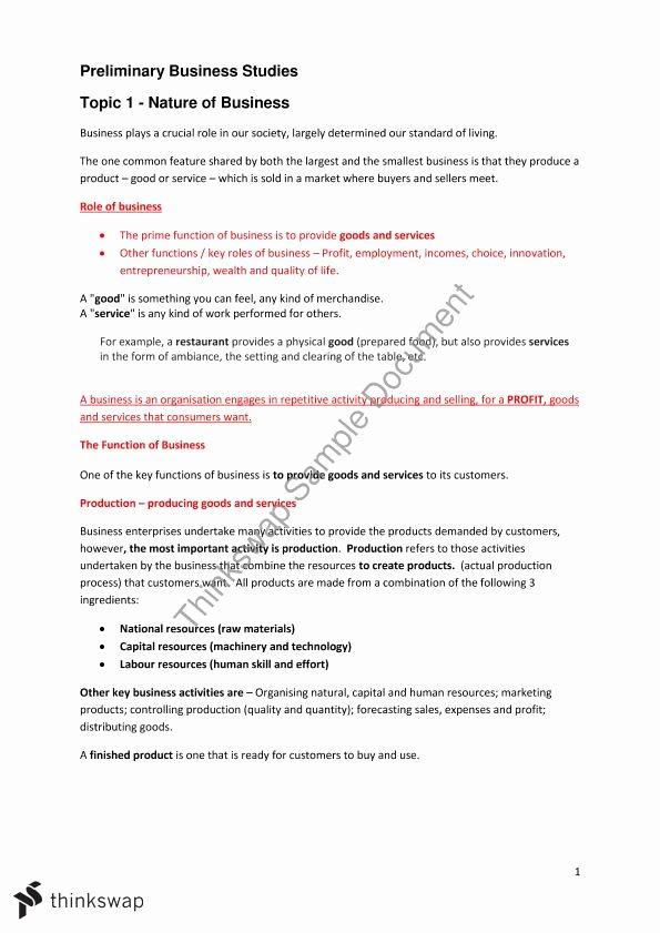 Nature Of Business Example Elegant Preliminary Business Stu S topic 1 Nature Of Business