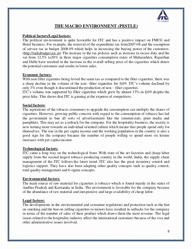 Nature Of Business Example Luxury Strategic Analysis Of Itc