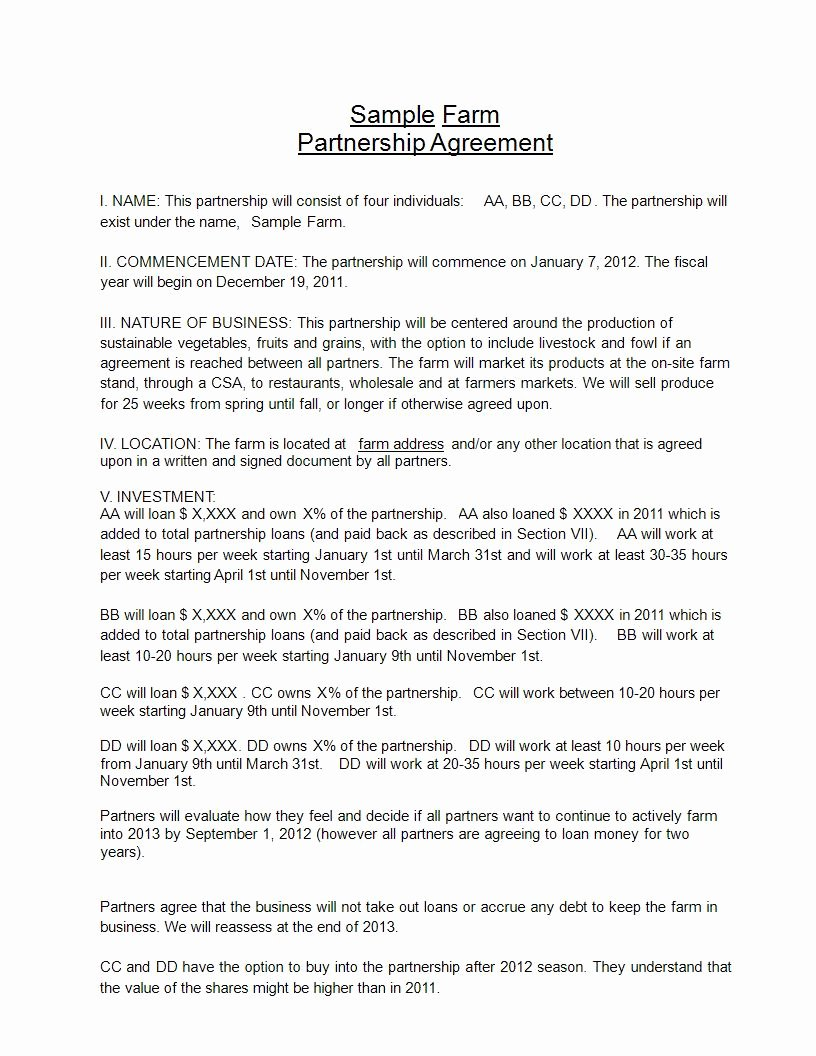 Nature Of Business Example Unique 24 Free Partnership Agreement Pdf Doc