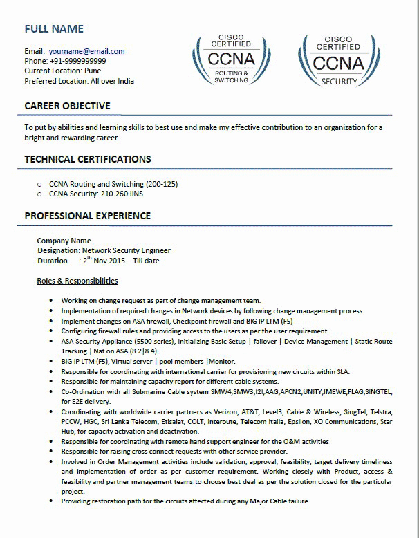 Network Engineer Resume Example Awesome top 5 Network Security Engineer Resume Samples In Word & Pdf format
