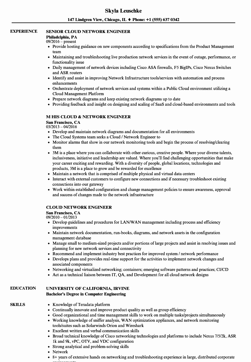 Network Engineer Resume Example Lovely Cloud Network Engineer Resume Samples