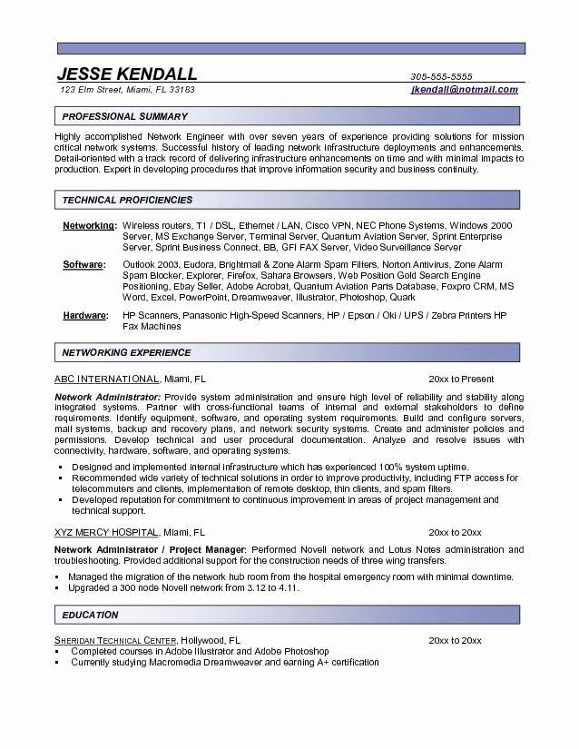 Network Engineer Resume Example Lovely Network Administrator Resume