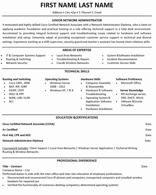 Network Engineer Resume Example Unique Jr Network Administrator Resume Sample & Template