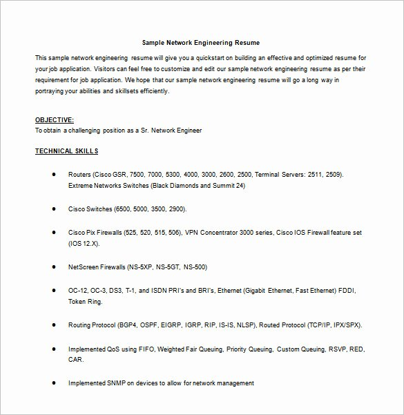 Network Engineer Resume Sample Awesome Network Engineer Resume Template – 9 Free Word Excel
