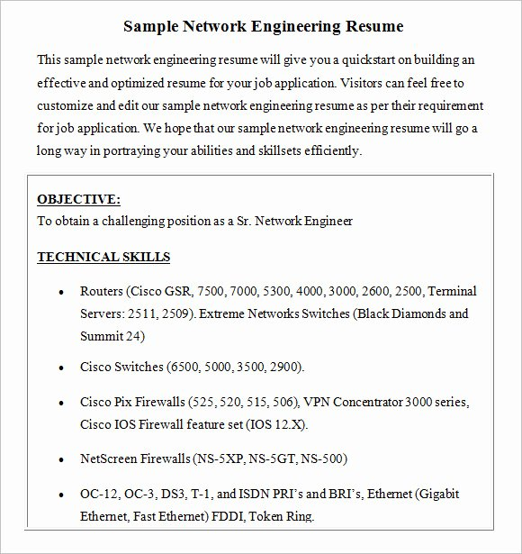 Network Engineer Resume Sample Beautiful Free 8 Network Engineer Resume Templates In Free Samples