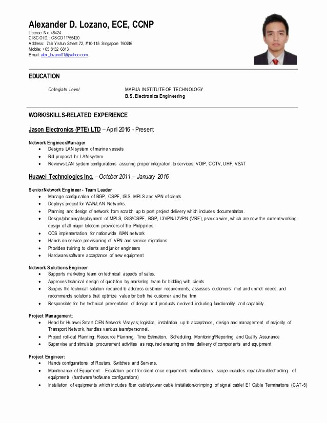 Network Engineer Resume Sample Beautiful Network Engineer Ccnp Cv