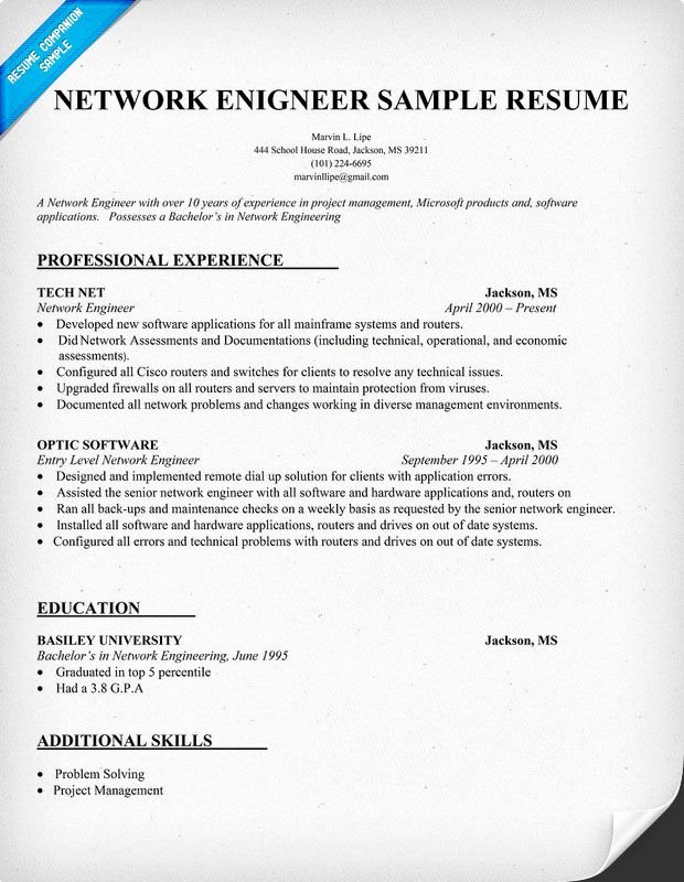 Network Engineer Resume Sample Elegant Network Engineer Resume Sample Resume Panion