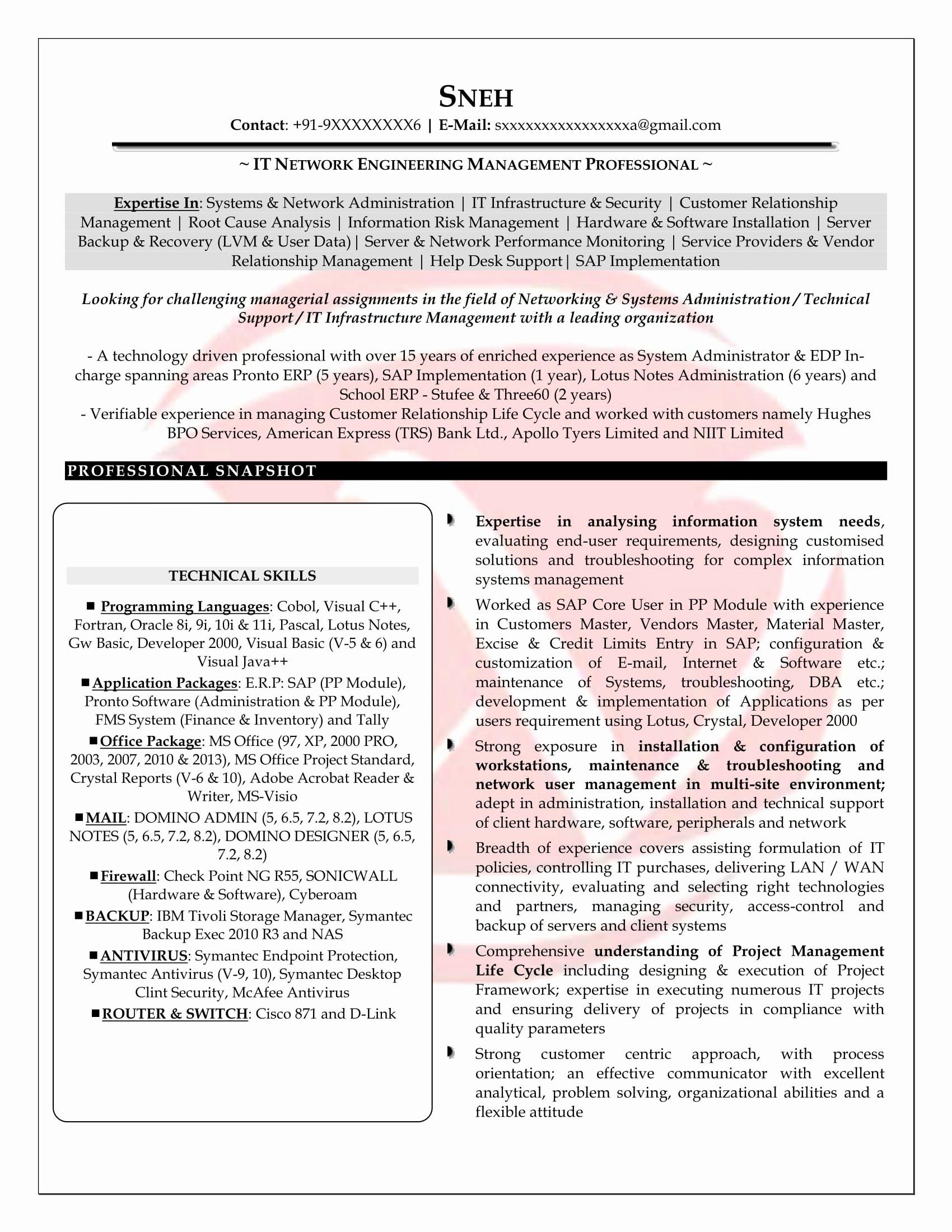 Network Engineer Resume Sample Elegant Network Engineer Sample Resumes Download Resume format