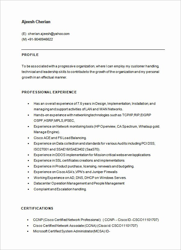 Network Engineer Resume Sample Fresh 6 Network Engineer Resume Templates Psd Doc Pdf