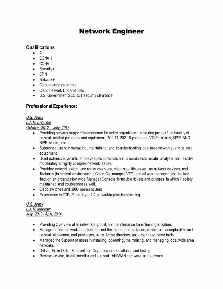 Network Engineer Resume Sample Fresh Network Engineer Resume