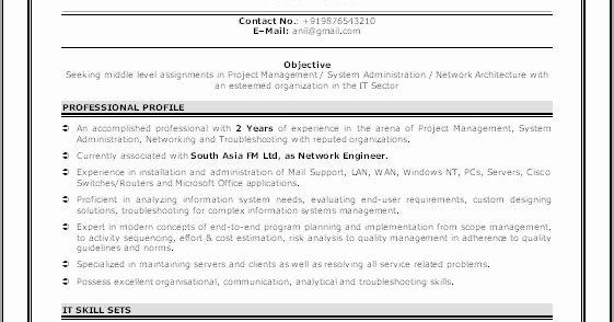 Network Engineer Resume Sample Inspirational Sample Network Engineer Resume