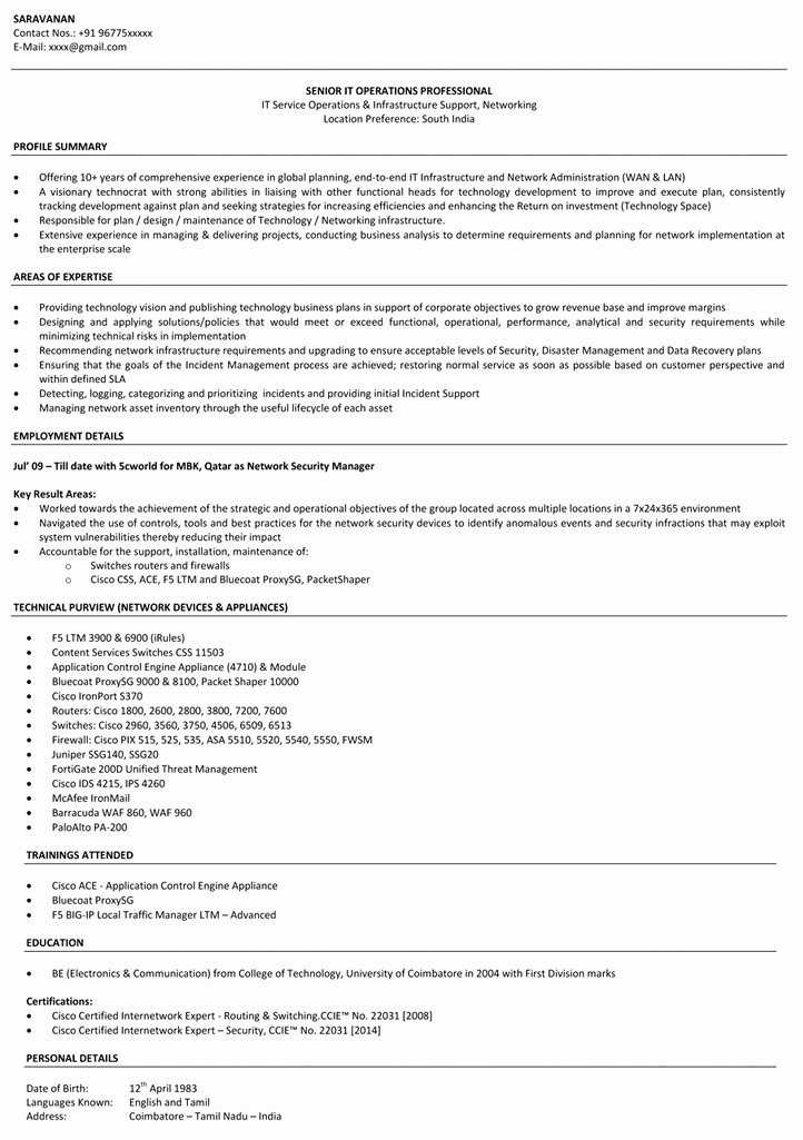 Network Engineer Resume Sample Lovely Network Engineer Resume